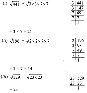 RD Sharma Class 8 Solutions Chapter 3 Squares and Square Roots Ex 3.4 1