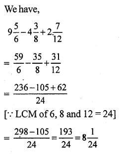 RS Aggarwal Class 7 Solutions Chapter 2 Fractions CCE Test Paper 2