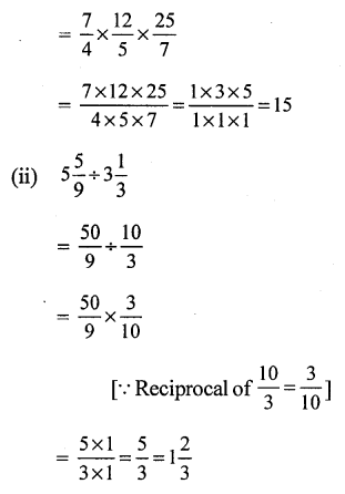 RS Aggarwal Class 7 Solutions Chapter 2 Fractions CCE Test Paper 8