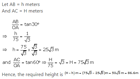 RS Aggarwal Solutions Class 10 Chapter 14Height and Distance Ex 14a 17