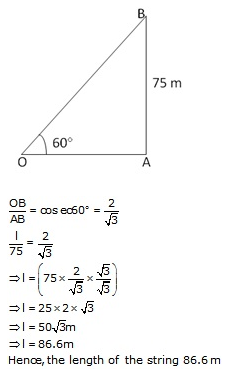 RS Aggarwal Solutions Class 10 Chapter 14Height and Distance Ex 14a 3