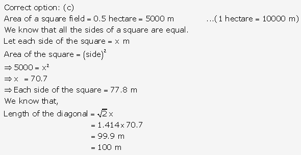 RS Aggarwal Solutions Class 10 Chapter 17 Perimeter and Areas of Plane Figures MCQ 11