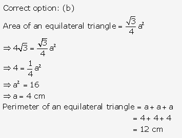 RS Aggarwal Solutions Class 10 Chapter 17 Perimeter and Areas of Plane Figures MCQ 12