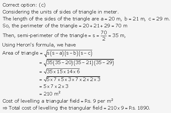 RS Aggarwal Solutions Class 10 Chapter 17 Perimeter and Areas of Plane Figures MCQ 17