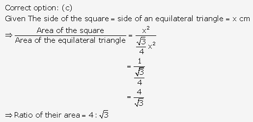 RS Aggarwal Solutions Class 10 Chapter 17 Perimeter and Areas of Plane Figures MCQ 18