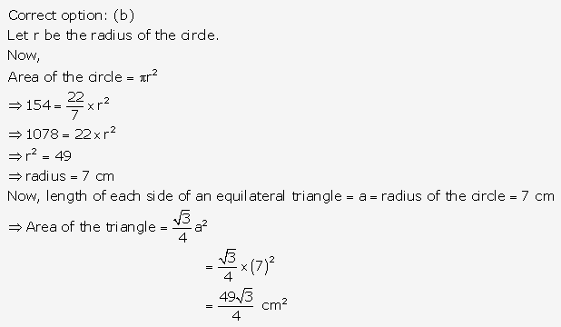 RS Aggarwal Solutions Class 10 Chapter 17 Perimeter and Areas of Plane Figures MCQ 19