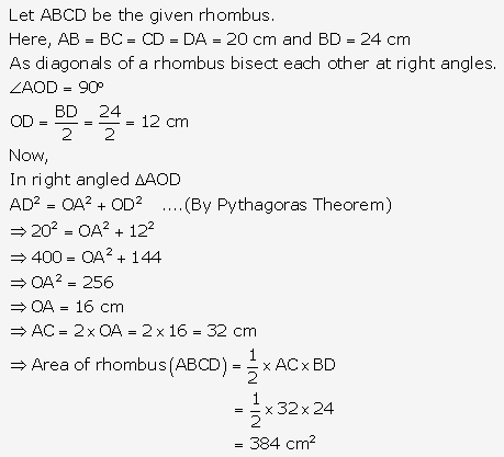 RS Aggarwal Solutions Class 10 Chapter 17 Perimeter and Areas of Plane Figures MCQ 23