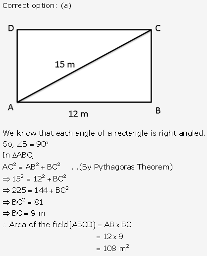 RS Aggarwal Solutions Class 10 Chapter 17 Perimeter and Areas of Plane Figures MCQ 3