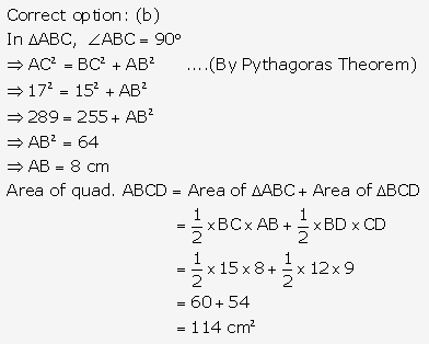 RS Aggarwal Solutions Class 10 Chapter 17 Perimeter and Areas of Plane Figures Test Yourself 1