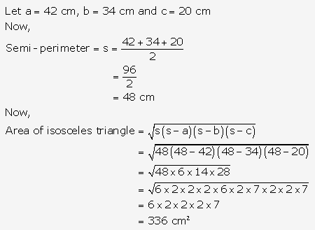 RS Aggarwal Solutions Class 10 Chapter 17 Perimeter and Areas of Plane Figures Test Yourself 10