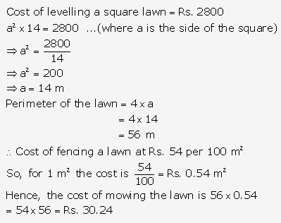 RS Aggarwal Solutions Class 10 Chapter 17 Perimeter and Areas of Plane Figures Test Yourself 17