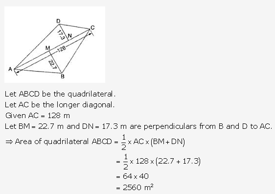 RS Aggarwal Solutions Class 10 Chapter 17 Perimeter and Areas of Plane Figures Test Yourself 23