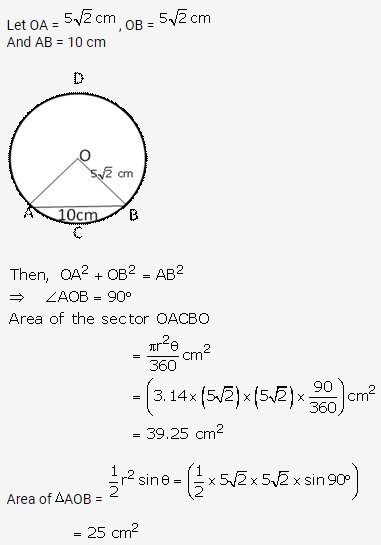 RS Aggarwal Solutions Class 10 Chapter 18 Areas of Circle, Sector and Segment Ex 18b 16