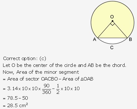 RS Aggarwal Solutions Class 10 Chapter 18 Areas of Circle, Sector and Segment MCQ 24