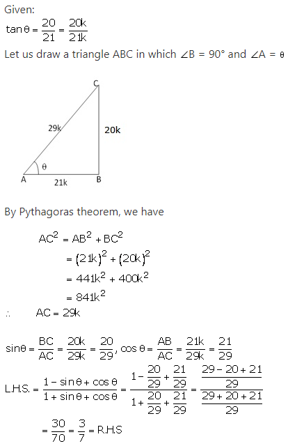 RS Aggarwal Solutions Class 10 Chapter 5 Trigonometric Ratios Ex 5 21