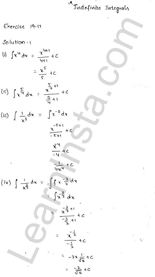 RD Sharma Class 12 Solutions Chapter 19 Indefinite Integrals Ex 19.1 1.1