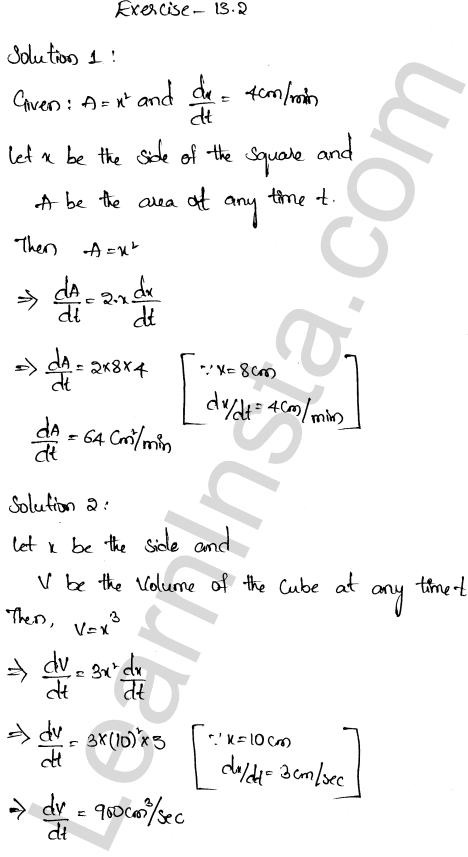 RD Sharma Class 12 Solutions Chapter 13 Derivative as a Rate Measurer Ex 13.2 1.1