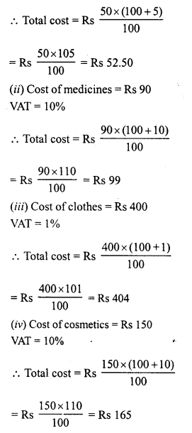 RD Sharma Class 8 Solutions Chapter 13 Profits, Loss, Discount and Value Added Tax (VAT)Ex 13.3 13
