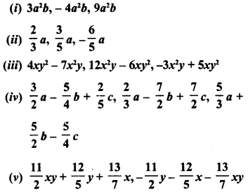 RD Sharma Class 8 Solutions Chapter 6 Algebraic Expressions and IdentitiesEx 6.2 1