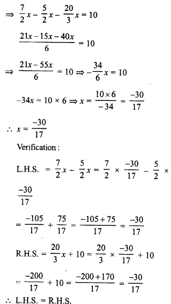 RD Sharma Class 8 Solutions Chapter 9 Linear Equations in One VariableEx 9.2 10