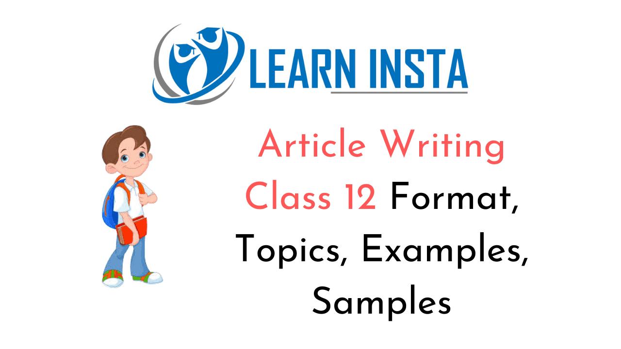Article Writing Class 12