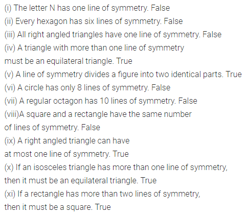 ML Aggarwal Class 6 Solutions for ICSE Maths Chapter 12 Symmetry Objective Type Questions 2