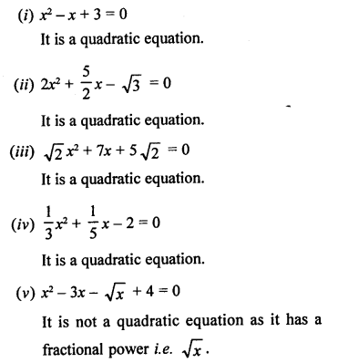 RS Aggarwal Class 10 Solutions Chapter 10Quadratic Equations Ex 10A 1