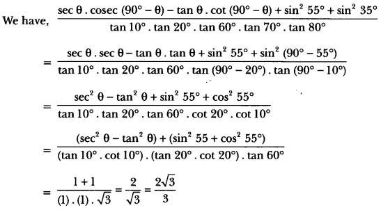 Introduction to Trigonometry Class 10 Extra Questions Maths Chapter 8 with Solutions Answers 45