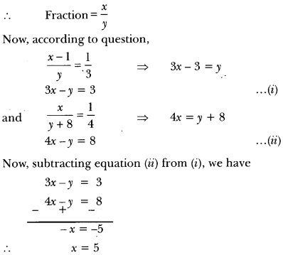 Pair of Linear Equations in Two Variables Class 10 Extra Questions Maths Chapter 3 with Solutions Answers 27