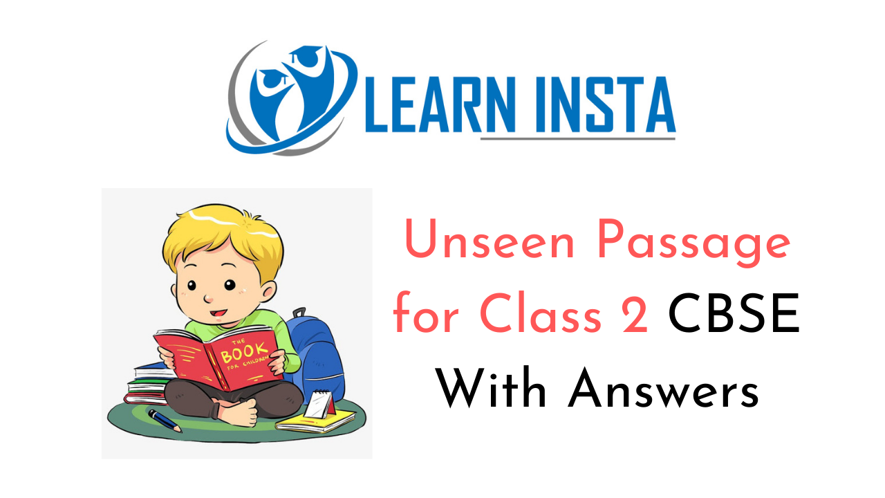 Unseen Passage Worksheet Exercises for Class 2 Examples with Answers CBSE 1