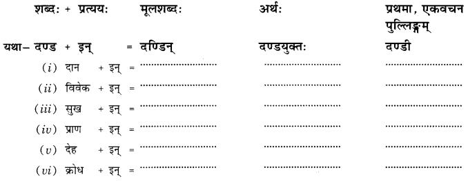 Class 10 Sanskrit Grammar Book Solutions प्रत्ययाः Q10
