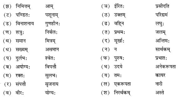NCERT Solutions for Class 10 Sanskrit Shemushi Chapter 6 सुभाषितानि Additional Q7.1