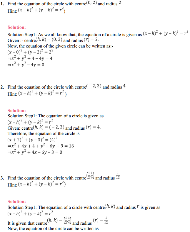 NCERT Solutions for Class 11 Maths Chapter 11 Conic Sections Ex 11.1 1