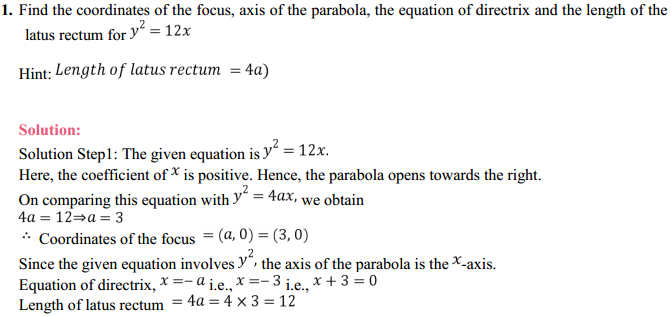 NCERT Solutions for Class 11 Maths Chapter 11 Conic Sections Ex 11.2 1