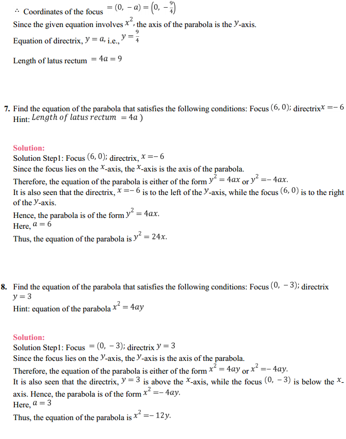 NCERT Solutions for Class 11 Maths Chapter 11 Conic Sections Ex 11.2 6