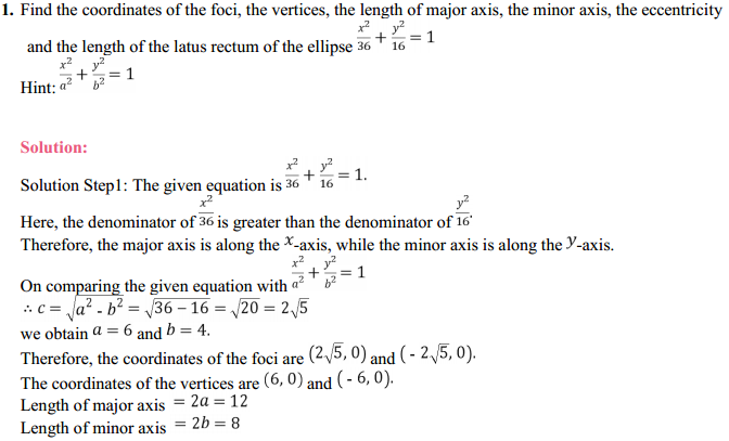 NCERT Solutions for Class 11 Maths Chapter 11 Conic Sections Ex 11.3 1