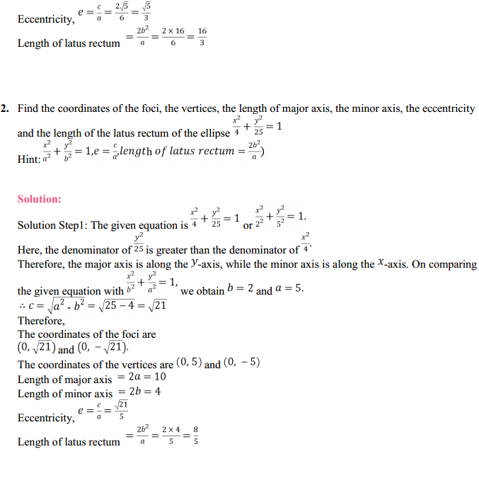 NCERT Solutions for Class 11 Maths Chapter 11 Conic Sections Ex 11.3 2