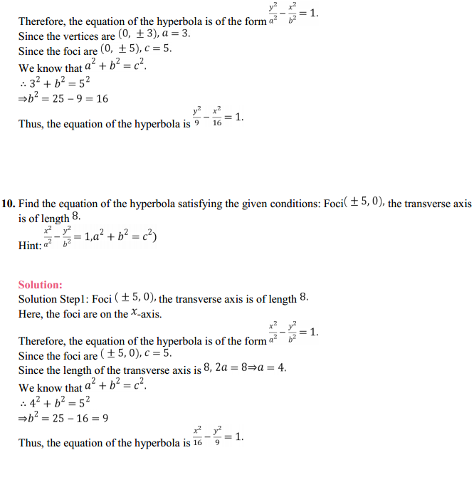 NCERT Solutions for Class 11 Maths Chapter 11 Conic Sections Ex 11.4 10
