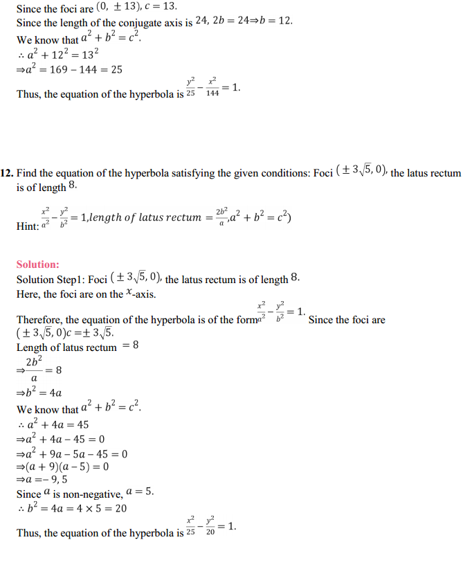 NCERT Solutions for Class 11 Maths Chapter 11 Conic Sections Ex 11.4 12