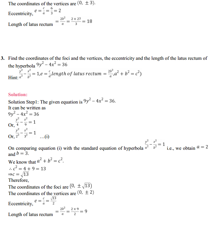 NCERT Solutions for Class 11 Maths Chapter 11 Conic Sections Ex 11.4 2