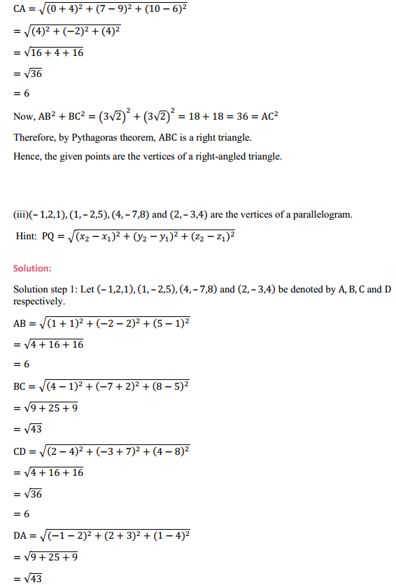 NCERT Solutions for Class 11 Maths Chapter 12 Introduction to three Dimensional Geometry Ex 12.2 6