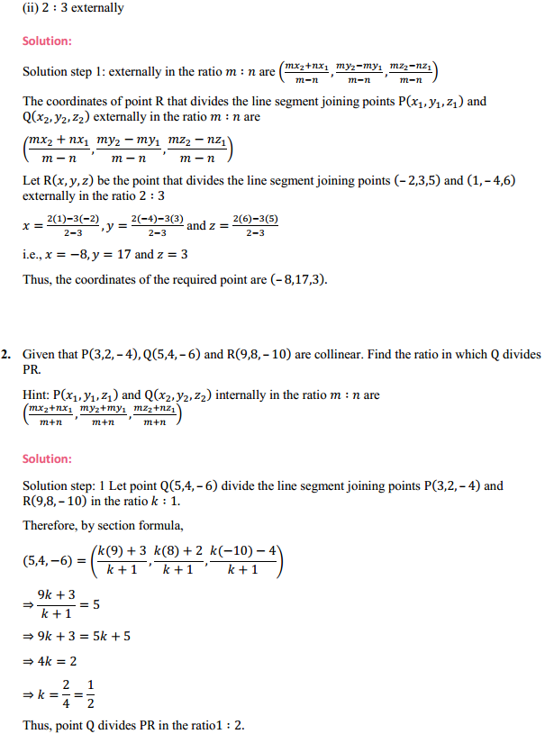 NCERT Solutions for Class 11 Maths Chapter 12 Introduction to three Dimensional Geometry Ex 12.3 2