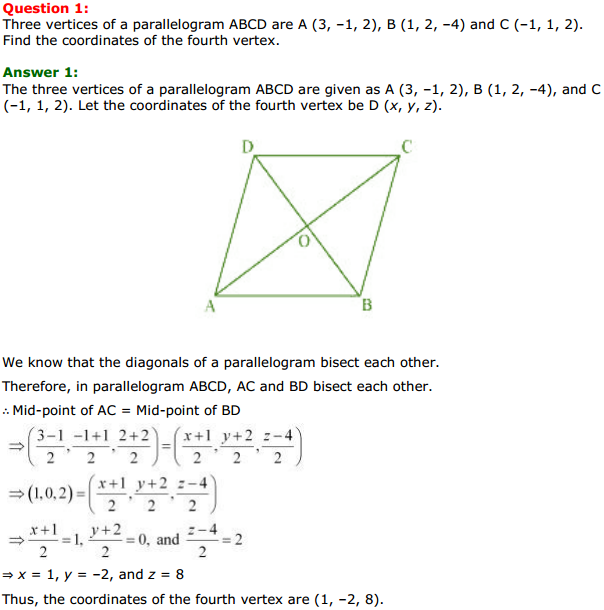 NCERT Solutions for Class 11 Maths Chapter 12 Introduction to three Dimensional Geometry Miscellaneous Exercise 1