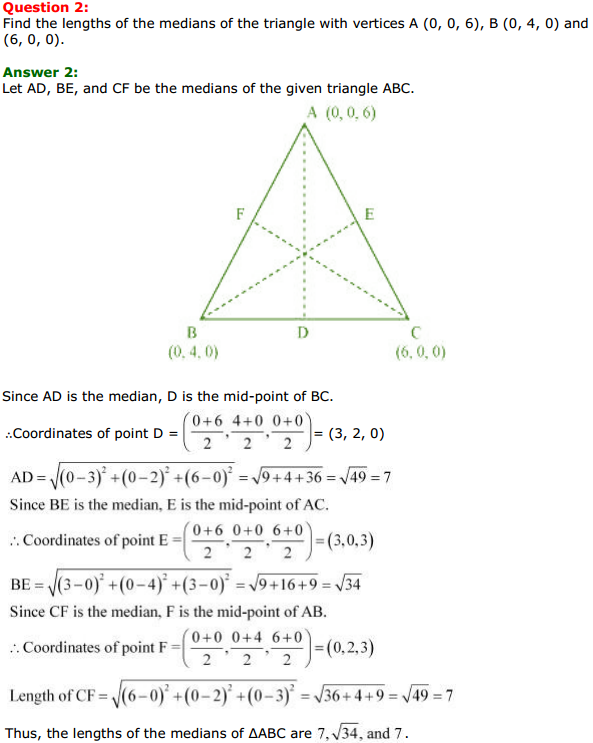 NCERT Solutions for Class 11 Maths Chapter 12 Introduction to three Dimensional Geometry Miscellaneous Exercise 2