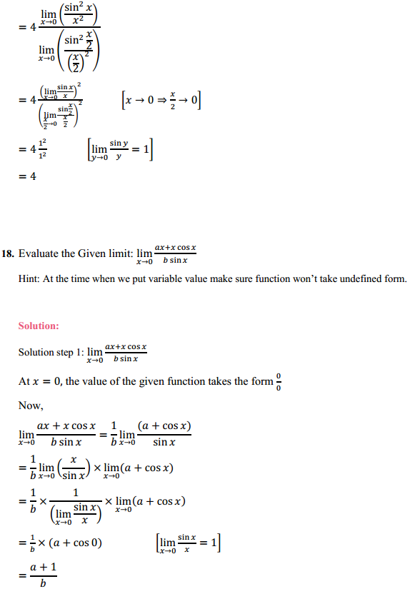 NCERT Solutions for Class 11 Maths Chapter 13 Limits and Derivatives Ex 13.1 13