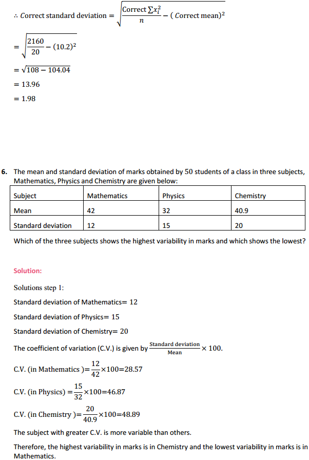 NCERT Solutions for Class 11 Maths Chapter 15 Statistics Miscellaneous Exercise 10