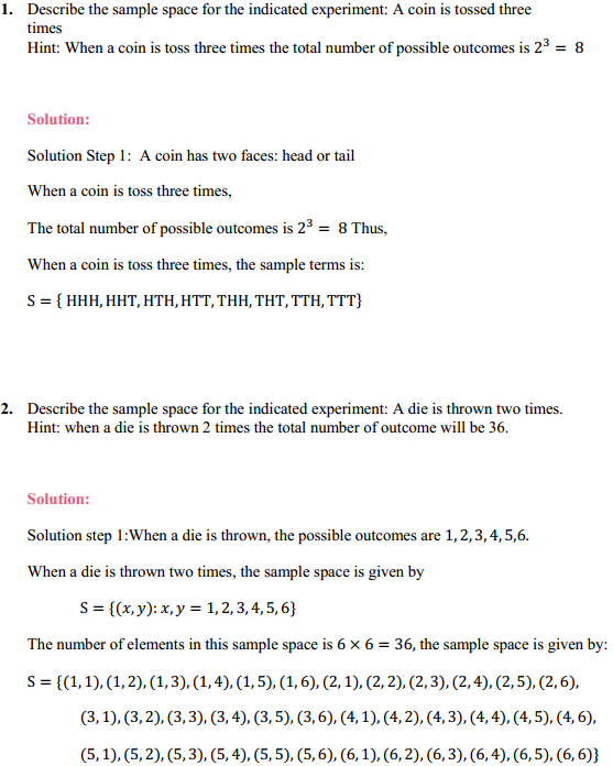 NCERT Solutions for Class 11 Maths Chapter 16 Probability Ex 16.1 1